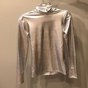 SICK silver metallic long sleeve top